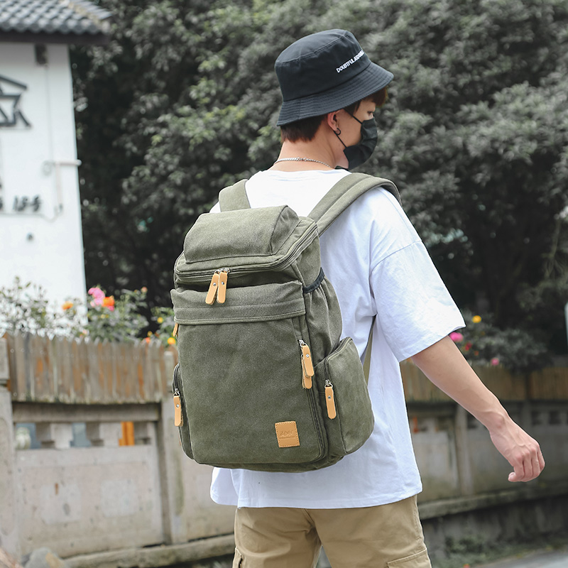 MANJIANGHONG Man's Canvas Backpacks Multi-Function Big Backpack Bag Man Fashion Simple Travel Bags Dropshipping Costomized Bags
