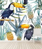 The custom 3D murals,In the tropical rainforest Toucan,living room sofa TV wall bedroom wall paper