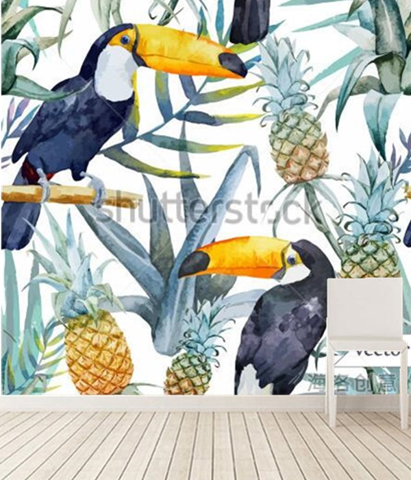 The custom 3D murals,In the tropical rainforest Toucan,living room sofa TV wall bedroom wall paper the latest 3d murals dream of the sun exposure forest trees stone waterfall scenery living room tv sofa bedroom wall paper