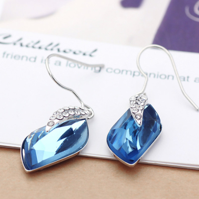 Neoglory Crystal Blue Drop Dangle  Earrings Fashion Jewelry Birthday Gifts For Women 2017 New B1