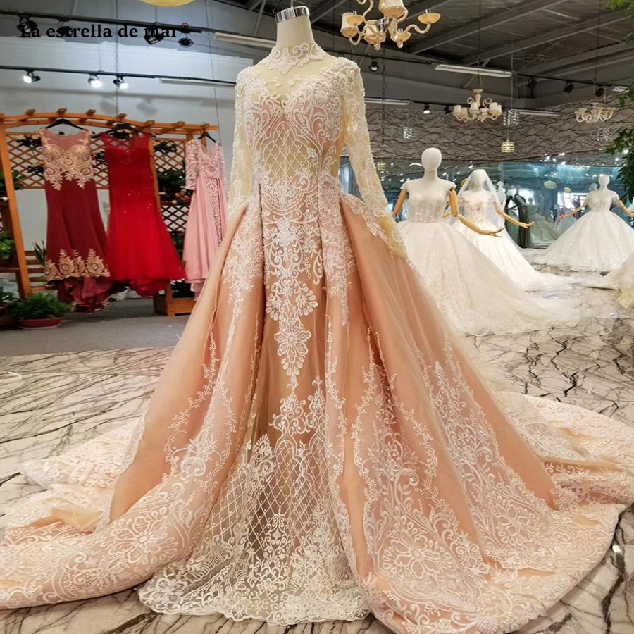 La estrella de mar avondjurken 2019 new high neck lace crystal long sleeve a line peach evening evening gowns dresses plus size