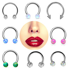 1PC Steel Crystal Circular Barbell Horseshoe Ring Opal Nose Hoop Ear Cartilage Tragus Piercing Labret Ring For Unisex Jewelry(China)