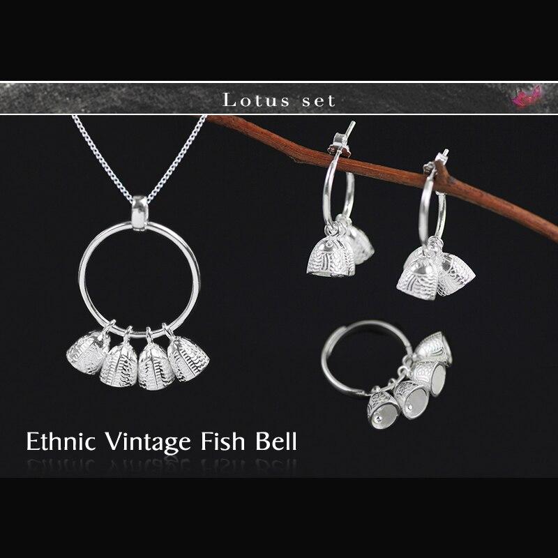 Здесь продается  Lotus Fun Real 925 Sterling Silver Natural Creative Handmade Designer Fine Jewelry Ethnic Vintage Fish Bell Jewelry Set  Ювелирные изделия и часы