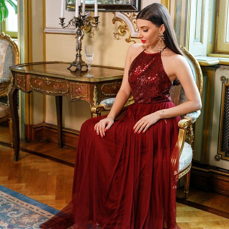 Когда-либо довольно платья для выпускного вечера 2018 блестками Холтер EP07286 новый Бургундия игристое-line вечернее платье без рукавов vestidos de gala