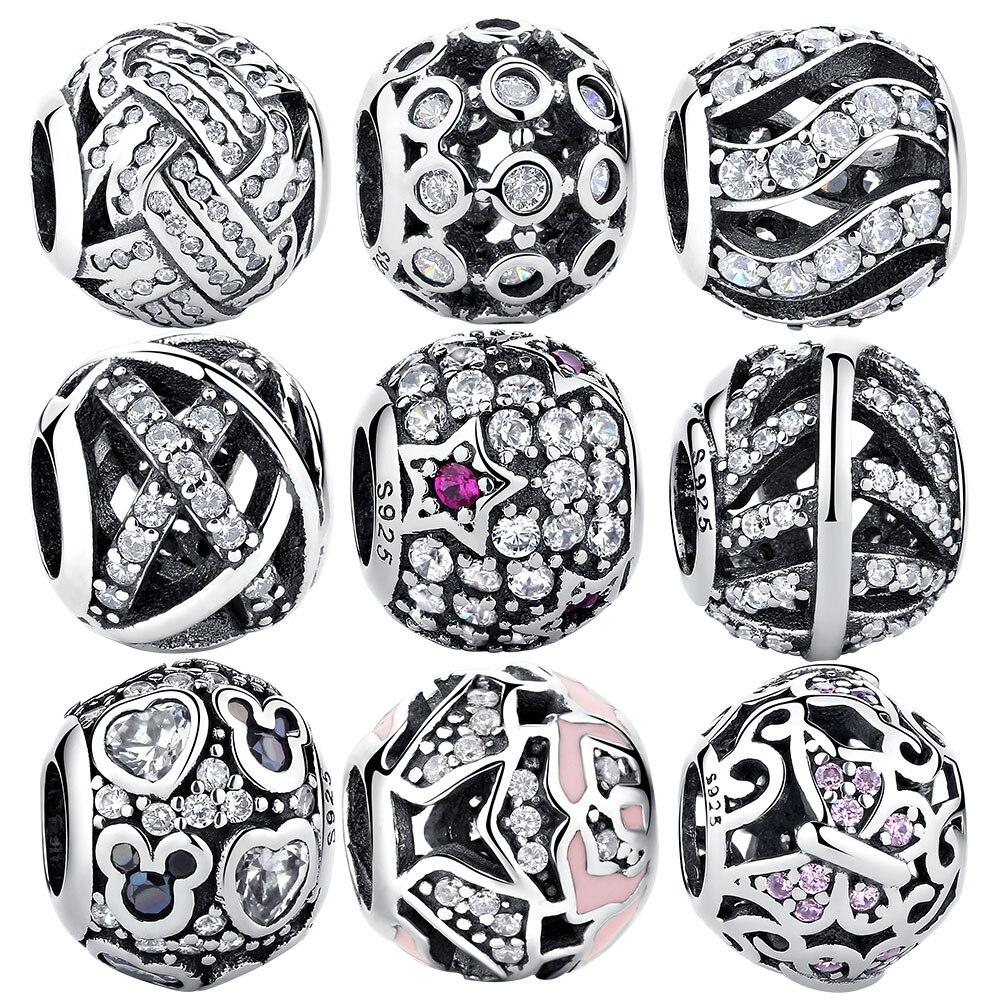 EVOJEW 100% 925 Sterling Silver Charm Beads Clear CZ Round Beads Fit Original Pandora Charm Bracelets DIY Jewelry Gift