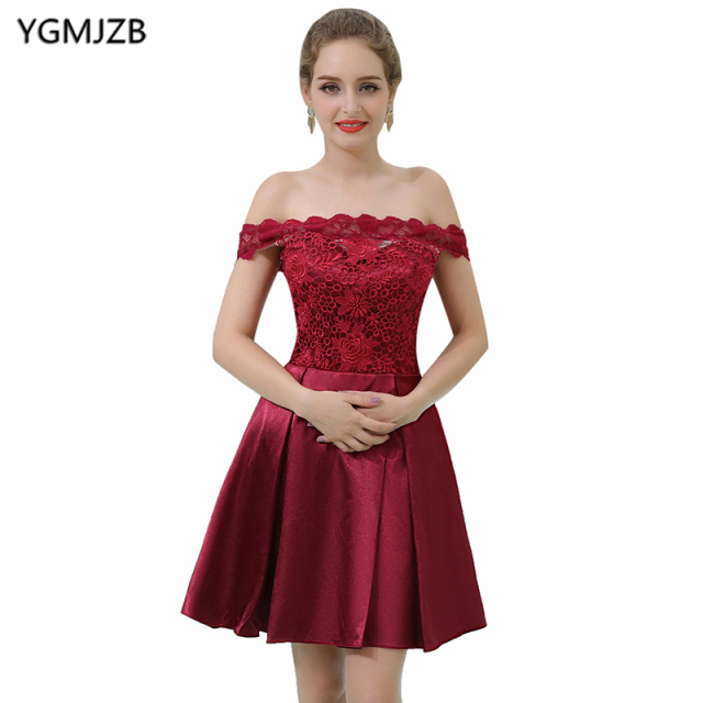 8213a02e0 Elegant Short Prom Dresses 2018 A Line Boat Neck Off The Shoulder Lace Top  Burgundy Cocktail Dress Party Dress Vestido De Festa