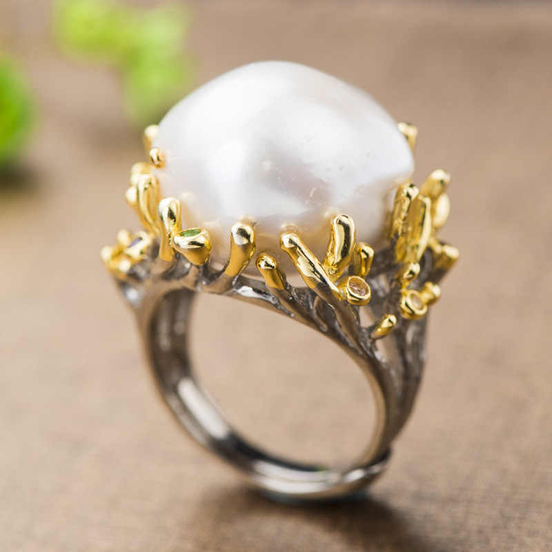 Baroque Pearl Ring Real 925 Sterling Silver Exaggerated Creative Flower Natural Freshwater Pearl Rings For Womens Jewelry