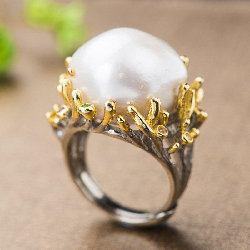 Baroque perle anneau réel 925 en argent Sterling exagéré créatif fleur naturel perle d'eau douce anneaux pour les femmes bijoux