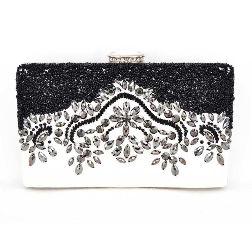 ФОТО women handbags Beaded bag women Black bag clutch ladies chain evening bags messenger bags White clutch pouch Z01