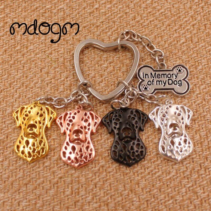2020 Cute Dalmatian Dog Animal Gold Silver Plated Metal Pendant Keychain For Bag Car Women Men Key Ring Love Jewelry AKC K077
