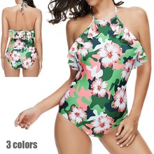 цена 2019 Sexy Swimsuit Women One Piece Swiwmear High Neck Plus Size Swimming Suit for Women Bathing Suit Maillot Sheer One Piece USA онлайн в 2017 году