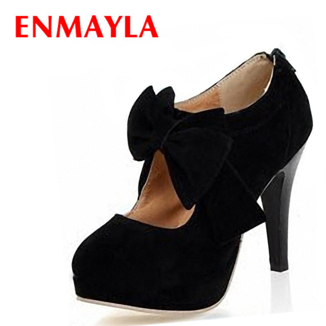 d3e517f110d ENMAYLA New Vintage Retro Style High Heels Shoes Women Small Bowtie  Platform Pumps Women Lady s Sexy High Heeled Shoes
