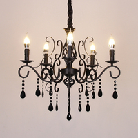 European Wrought Iron Chandelier Light Living Room Bedroom Black Crystal Chandelier Restaurant Clothing Store Vintage Chandelier