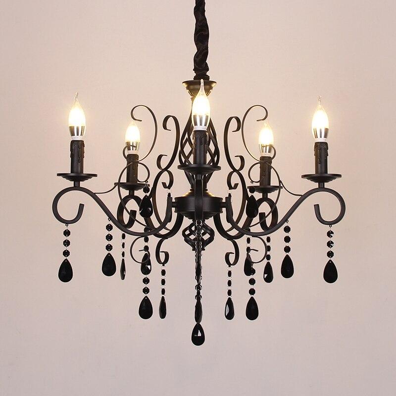 Lustre en fer forgé européen lumière salon chambre lustre en cristal noir Restaurant magasin de vêtements Vintage lustre