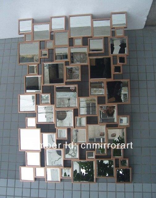 MR 201398 mosaico arte espejo de pared con marco de madera curvada ...