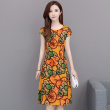 women dress Promotion New Vestidos Mujer Women Dress Round Neck Short-sleeved Cotton Printed Slim Belt Plus Size S-6XL