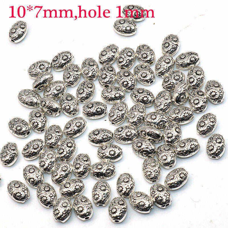 10*7 Mm 50 Stks/partij Ovale Metalen Zinklegering Kralen Zon Bloem Patroon Verzilverde Bedels Voor Sieraden maken Diy Accessoires
