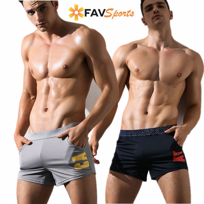 Men Summer Swimwear Surf   Board     Shorts   For Beach Bathingsuit Elastic Print Swimming Trunks Quick Dry Briefs