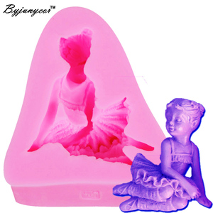 Силиконовая форма для девочки-ангела Byjunyeor F1142, УФ-полимерная мягкая глина, инструменты для выпечки конфет, шоколада, леденца, леденца