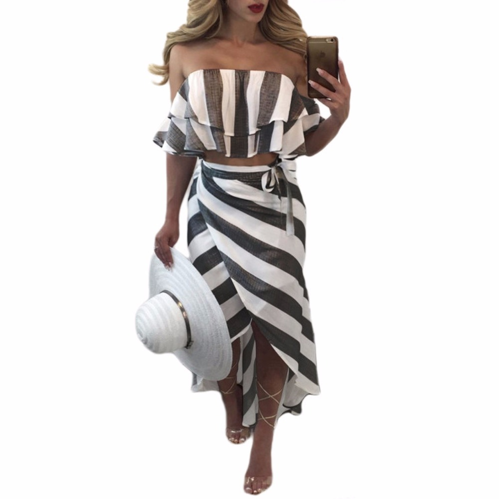 f7b27b003795 RongHe Womens Ruffles Sets Two Piece Crop Top And Irregular Maxi Skirt Sexy Off  Shoulder New Sets Tunic Slim Suit Ensemble Femme-in Women's Sets from ...