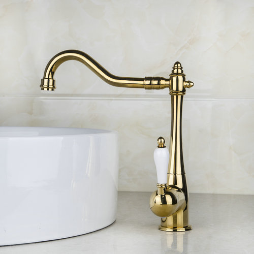 360 Swivel Bathroom Kitchen Deck Mount Basin Sink Faucet Mixer Polished Golden 8485K Single Hole Faucets