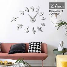 3D Flying Birds Mirror Large Wall Clock Sticker, DIY Giant Time Clock