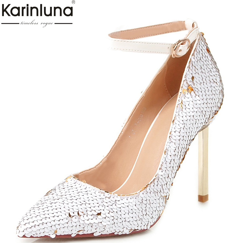 Sexy brand luxury Blings Thin High Heels Pumps Woman Pointed Toe Fashion Pumps Woman Party wedding Shoes Women big Size 32-43Sexy brand luxury Blings Thin High Heels Pumps Woman Pointed Toe Fashion Pumps Woman Party wedding Shoes Women big Size 32-43