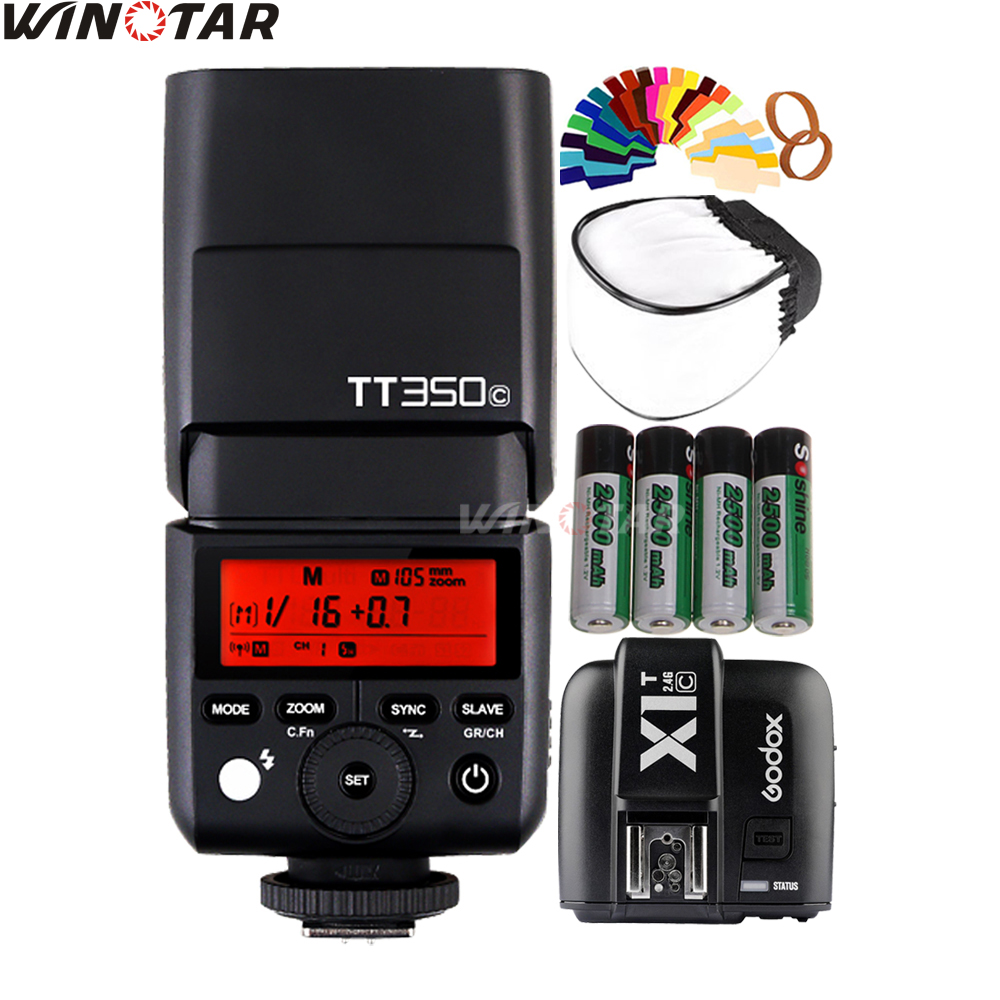 Godox Mini Speedlite TT350C Camera Flash TTL HSS + X1T-C Trigger + 4x 2500mAh Rechargeable Battery for Canon EOS DSLR Cameras godox v860iic v860iin v860iis x1t c x1t n x1t s hss 1 8000s gn60 ttl flash speedlite 2 4g transmission godox softbox filter
