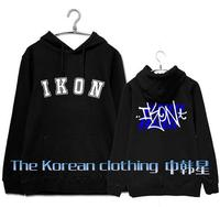 Kpop ikon kony's summer time same logo printing fleece hoodies for autumn winter b.i bobby same pullover sweatshirt