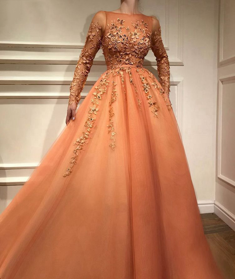 Muslim Evening Dresses 2019 A-line Long Sleeves Tulle Appliques Beaded Islamic Dubai Saudi Arabic Long Elegant Evening Gown
