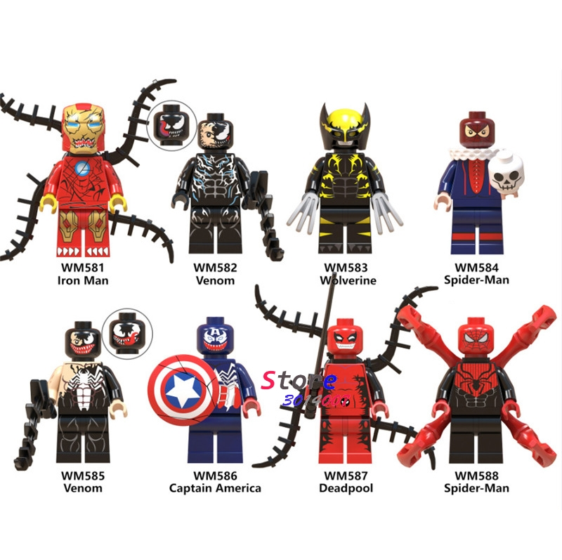 50pcs Venom Black White Red Wolverine Iron Man Captain American Deadpool Spiderman building block for children