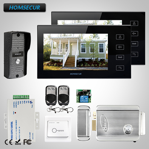 HOMSECUR 7 Wired Hands free Video Door Phone Intercom System Black Monitor TC031 Camera TM704 B