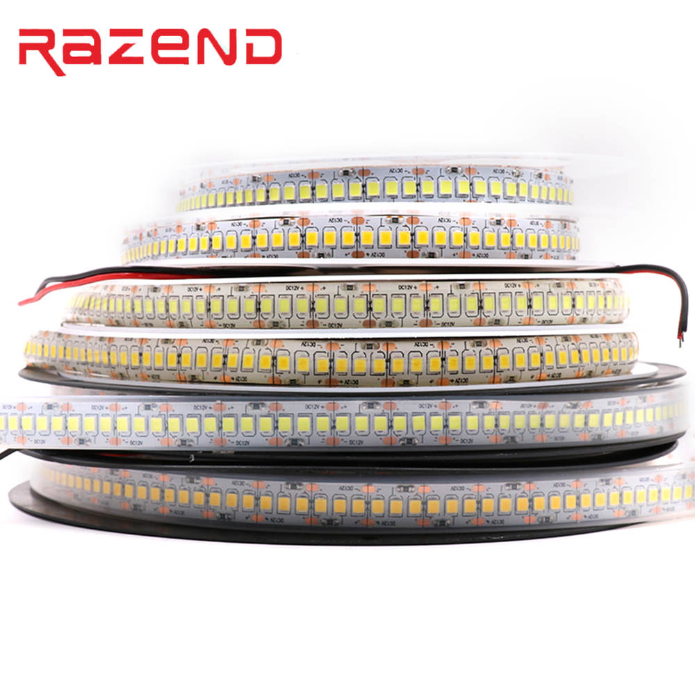 New 240 LED/m Horse Race 5m Single Row 2835 LED Strip 12V 1200 SMD Flexible Tape Cold White Warm White RGB Waterproof 10mm Width