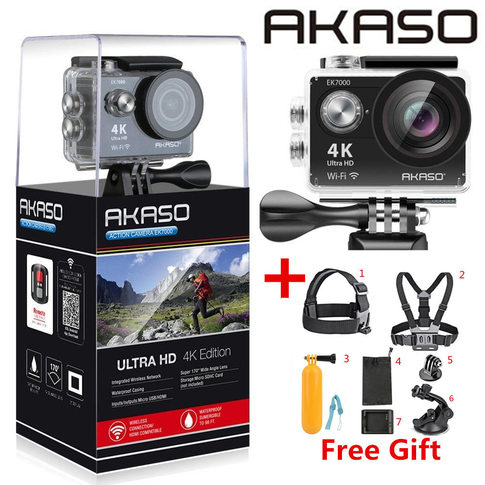 AKASO EK7000 / EK5000 4K WIFI Outdoor Action Camera Video Extreme Sports helm Ultra HD Diving Waterproof 12MP 170 Wide Angle