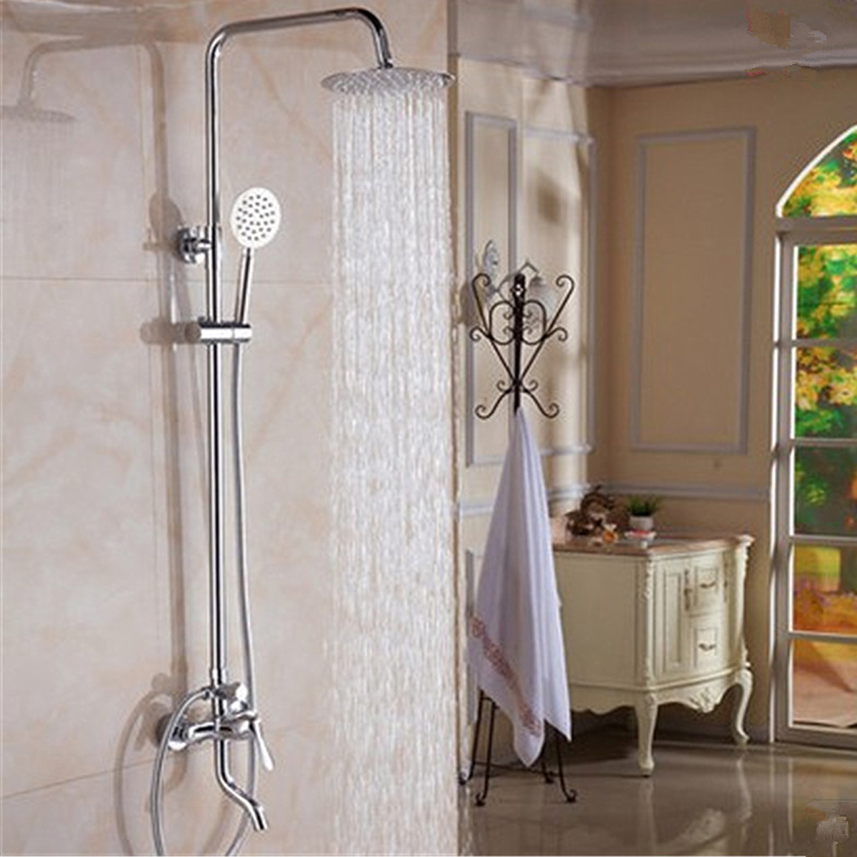 Wall Mount 8'' Rainfall Shower Head Faucet Set Chrome Brass Polished Shower Tub Mixer Tap Saving Nozzle Aerator High Pressure