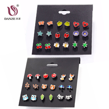 DANZE 9 Pairs Cute Kids Baby Stud Earrings Sets Women Small Heart Ladybug Frog Fox Bear Owl Ear Studs children brincos Jewelry