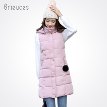 Brieuces new solid hooded can be detachable long casual autumn winter vest women fashion zipper letter loose waist coat