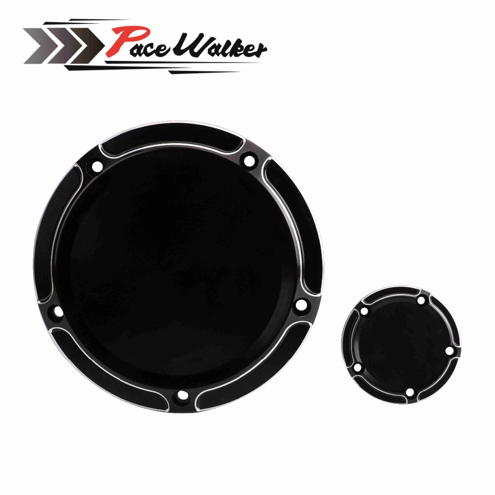 FREE SHIPPING Motorcycle Derby Cover and Synchronization Cover Timer CNC All Black For Dyna Road derby cover