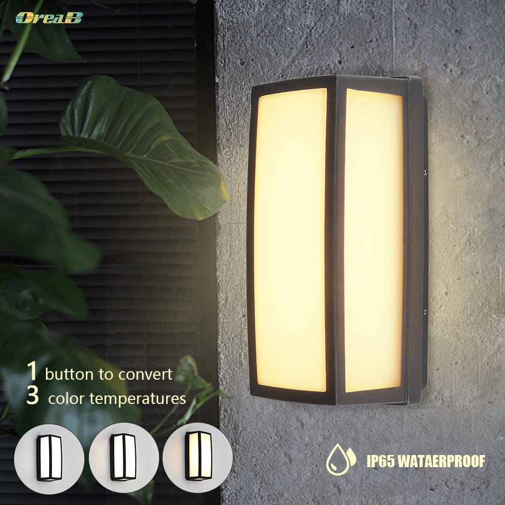 Light Control Dimmable 20 Led European Outdoor Wall Ip65 Electric Vintage Square Sconce Motion Sensor