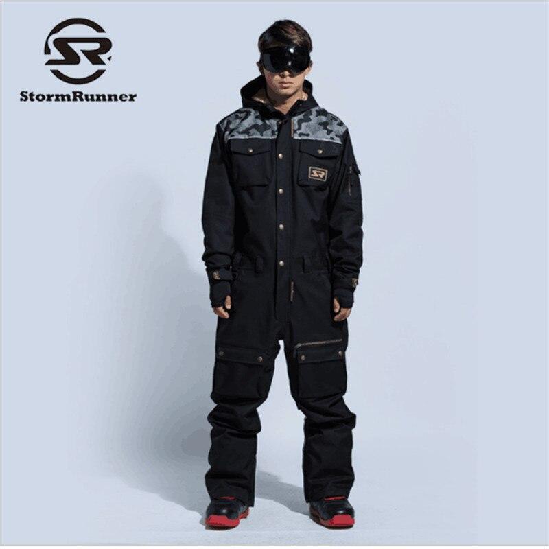2018New Ski Costume Hommes Hiver Imperméable Épaisse Chaud Snowboard Veste D'une Seule Pièce de Ski Salopette Sport Snowboard Et Montagne Ski