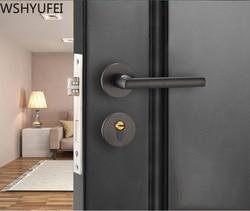 1 sztuk wysokiej jakości czarne drzwi do sypialni uchwyt domowy cichy blokada drzwi wewnętrznych drobny zamek magnetyczny po prawej stronie w Zamki do drzwi od Majsterkowanie na