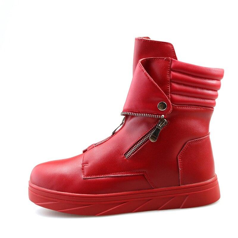 Zapatos Zapatillas Los blanco De Moda Negro Hop Bailando Casuales Alta Arriba Gruesa Martin Botas Plataforma rojo Hip Cuero Cremallera Calle Deporte Hombres La SqOwz
