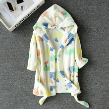 Child s Winter Flannel Soft Warm Long Bathrobe Hooded Robes Boys girls   Sleepwear For Teens 473440681