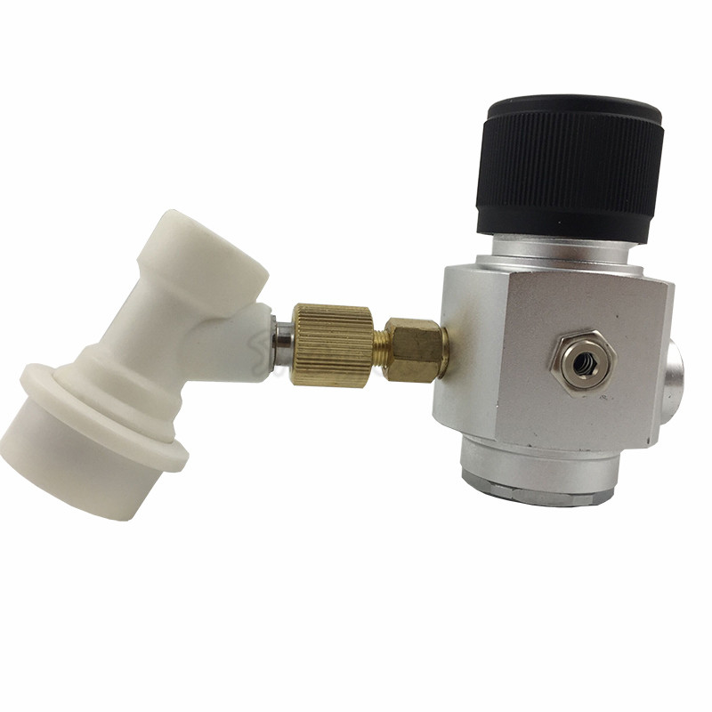 0~90PSI Mini CO2 Gas Regulator 38 Thread With Corny keg ball lock disconnect for beer tap,homebrew GAS regulator (4)