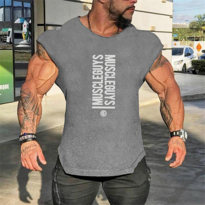 NEW Mens Gyms Singlets Sweatshirts sleeveless Vest letters print Bodybuilding Fitness male   tank     top   Shirts Casual Muscle shirt