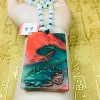 Send A level national certificate Natural colorful jade carving lotus fish pendant Three color jade jade bead chain