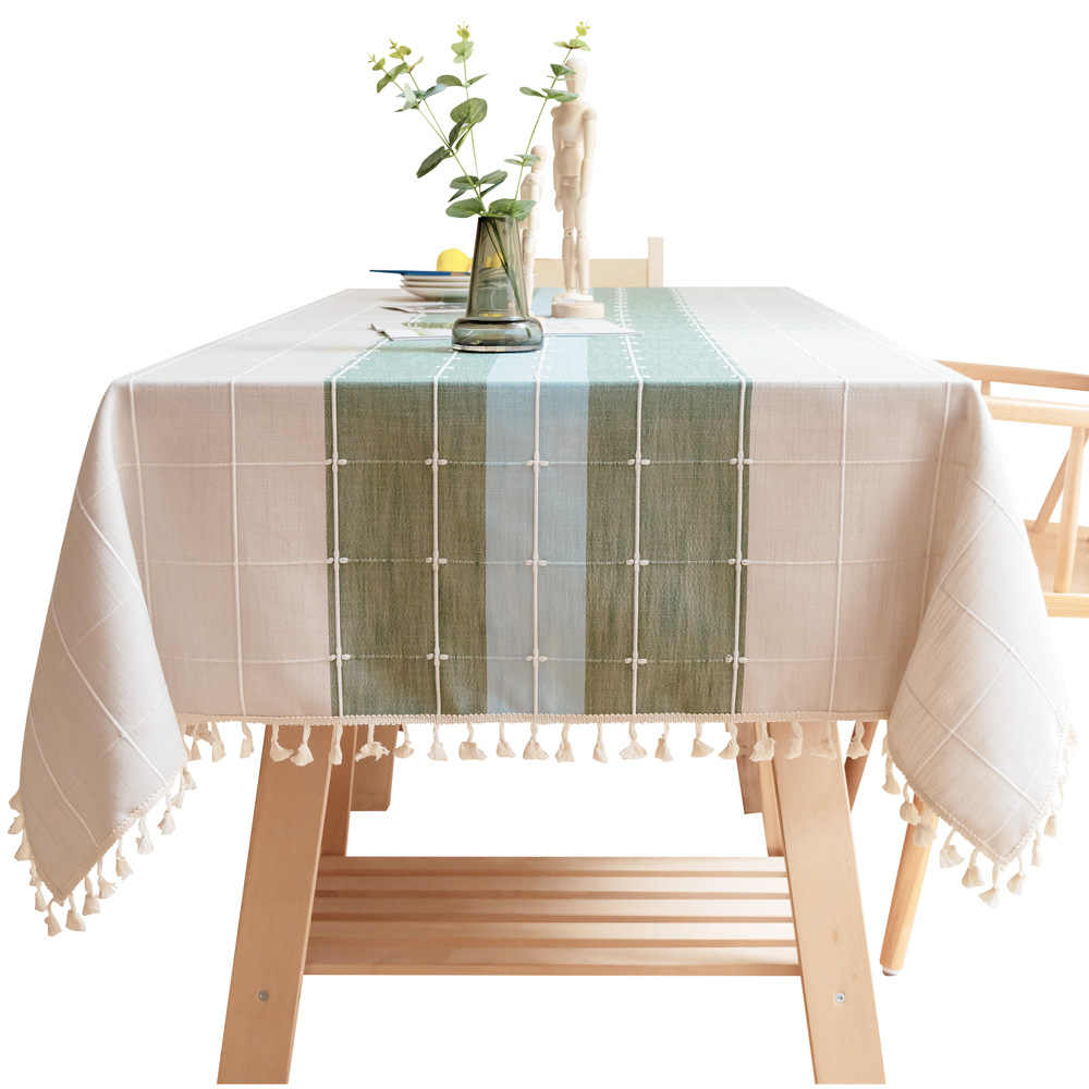Customizable Cotton Linen Tablecloth Green Plaid Striped Stitching Table Cloth Lace Embroidered Pendant Christmas Table Cover