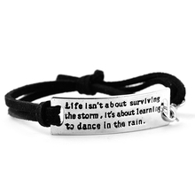 Silver Plated Life isn't about surviving the storm, it's about learning to dance in the rain Inspirational leather bracelet fernan vargas joseph truncale surviving the active killer