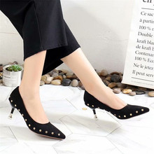 купить Lady Shoes Faux Suede High Heels Woman Shoes Pointed Toe Dress Shoes Basic Pumps Women Boat zapatos mujer Pointed Rivets по цене 931.38 рублей