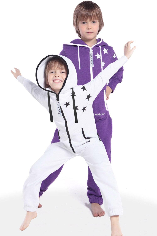 Nordic Way печати звезды милые все в одна деталь комбинезон, толстовка с капюшоном флис малыш Playsuit комбинезон унисекс